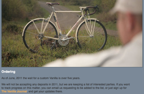 Vanilla Bicycles Waiting List