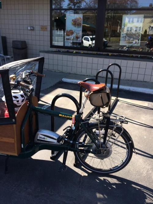 Cargo bike parked at Whole Foods Waterman